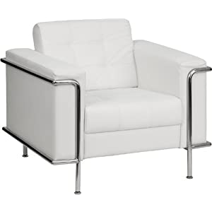 Flash Furniture ZB-LESLEY-8090-CHAIR... Hercules Lesley Series Contemporary White Leather Chair with Encasing Frame