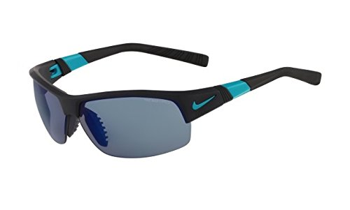 Nike Grey with Sky Blue Flash/Clear Lens Show X2 R Sunglasses, Matte Black/Turbo Green by NIKE