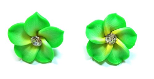 Tropical Flower Rhinestone - Teri's Boutique Hawaii Hibicus Orchid Tropical Flower Rhinestone Point Women Kid Fashion Ear Stud Earrings (Green Yellow)
