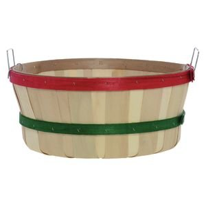Shallow Bushel Basket, Plain with Red and Green Bands by Retail Resource