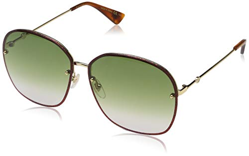 Gucci GG 0228S 001 Gold Metal Oval Sunglasses Green Gradient Lens