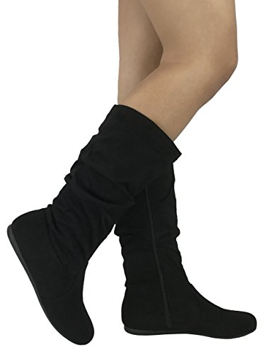 Wells Collection Womens Wonda Boots Soft Slouchy Flat to Low Heel Under Knee High, Black-23, 7
