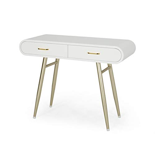 Great Deal Furniture 308293 Breenda Modern Faux Wood Vanity Table, White and Champagne Gold