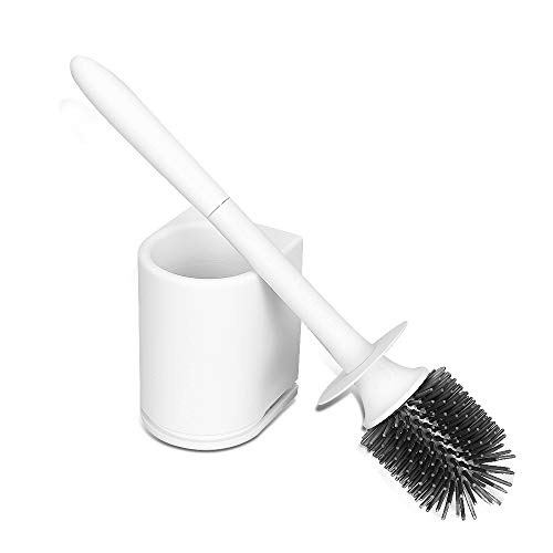 Ruihui Toilet Brush and Holder Upgraded Modern Design with Soft Silicone Bristles and Lid,Space Saving, Sturdy, Wall Mountable,Deep Cleaning - White (Wall Mounted Toilet Brush Holder)