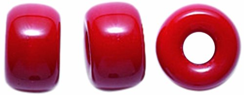 (Preciosa Ornela Traditional Czech Glass Crow Roller 50-Piece Beads, 9mm, Opaque Dark Red )