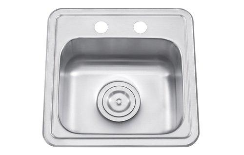 17' Single Bowl Kitchen (Universe Small single bowl bar/prep sink 25