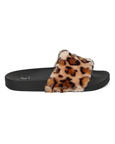 Betani Vrouwen Farah-1 Harige Glijbaan Sandalen Leopard