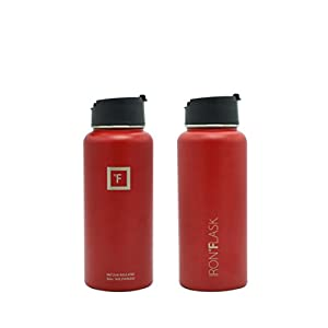 Iron Flask - 32 Oz, 3 Lids, Vacuum Insulated Stainless Steel Water Bottle, Hot & Cold, Wide Mouth, Nalgene, Double Walled, Simple Thermo Modern Travel Mug, Hydro Canteen Powder Coated