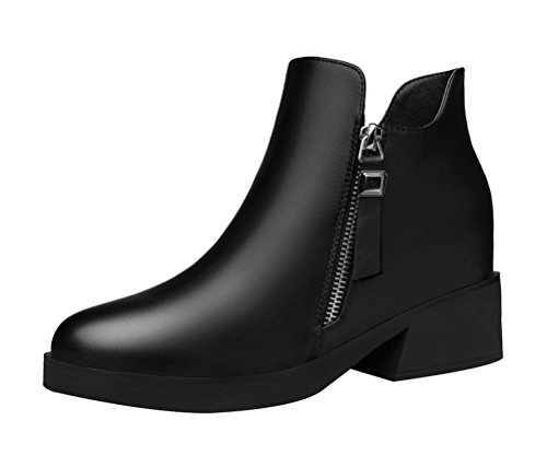 Women's Round Toe Flat Brogue Martin Boots London Ankle Boots Black - 5