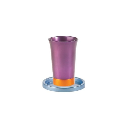 Yair Emanuel Purple Anodized Aluminum Kiddush Cup and Blue Saucer