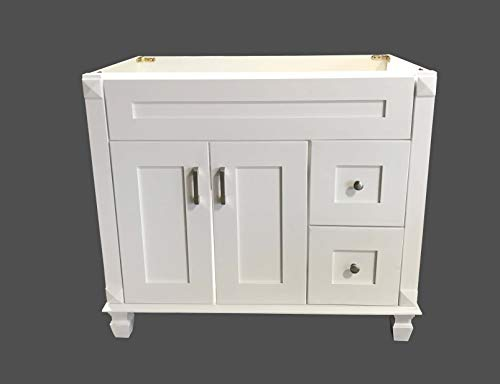 Solid Wood Vanity - White Shaker solid wood Single Bathroom Vanity Base Cabinet 36