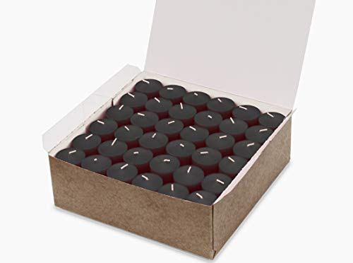Black Votive Candles Bulk Unscented Box of 72 Decorations for Dinner Wedding Halloween Holiday - Made in USA