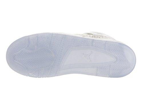 Nike Air Jordan 4 Retro Laser Bg, Zapatillas de Deporte para Niños Blanco / Plateado (White / Chrome-Metallic Silver)