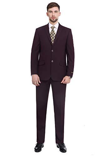 P&L Men's Premium Slim Fit 2-Piece Suit Blazer Jacket & Flat Pants Set Burgundy