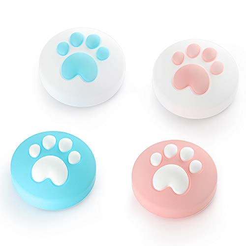LeyuSmart Cat Claw Design Thumb Grip Caps, Joystick Cap for Nintendo Switch & Lite, Soft Silicone Cover for Joy-Con Controller (Pink&Blue)