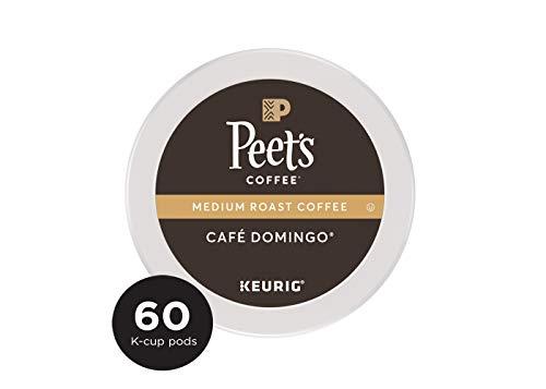 Peet's Coffee, Café Domingo, Medium Roast, Single Cup Coffee Pods, Smoothly Sweet, Balanced, & Bright Medium Roast Blend of Latin American Coffees for Keurig K-Cup Brewers, 10 Count (Pack Of 6)