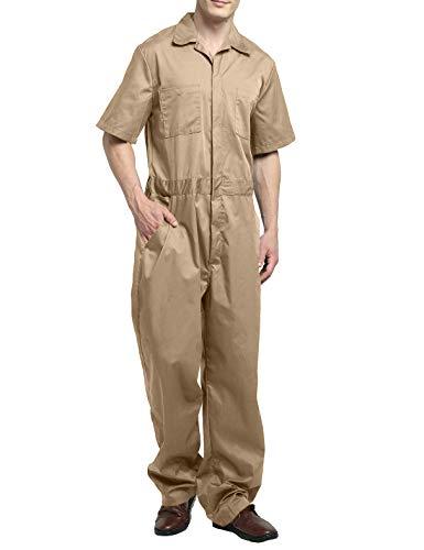 TOPTIE Men's Light Weight Short-Sleeve Work Coverall with Elastic Waist-Khaki-XL