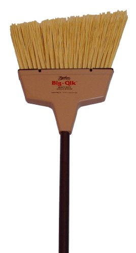 Zephyr 34068 Zip-Qik Wide Angle Broom with Plastic Handle, 13'' Head Width, 56'' Overall Length, Brown (Case of 6) by Zephyr