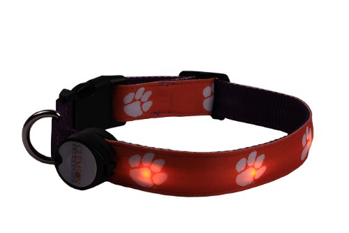 NCAA Clemson Tigers LED Light Up Dog Collar, Medium/10-15-Inch