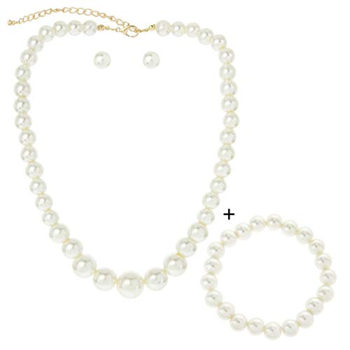 SP Sophia Collection Simulated Multi Sized Pearl Drop Choker Necklace Earring Bracelet Jewelry Set in Ivory