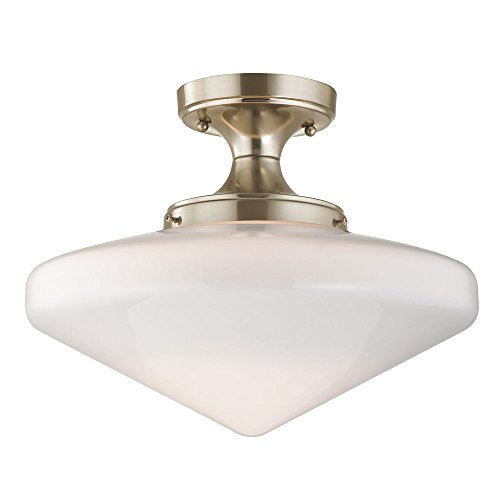 120v Line Voltage Round Canopy (14-Inch Wide Schoolhouse Ceiling Light in Satin Nickel Finish)