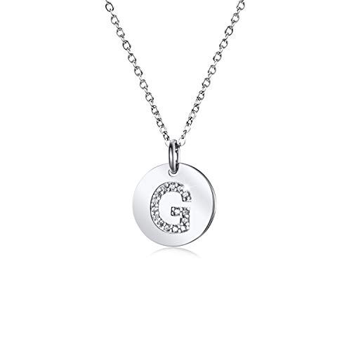 - Dainty Disc Initial Necklace S925 Sterling Silver Letters G Alphabet Pendant Necklace Birthday Gift for Daughter