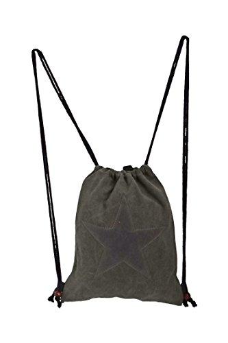 angesagte, topaktuelle Tasche,Beuteltasche, Rucksack, Turnbeutel aus robustem Canvas mit Stern
