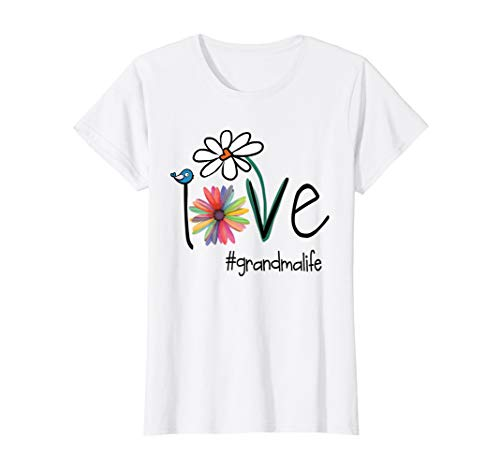 (Womens Love Grandma Life - Art Flower T-Shirt)