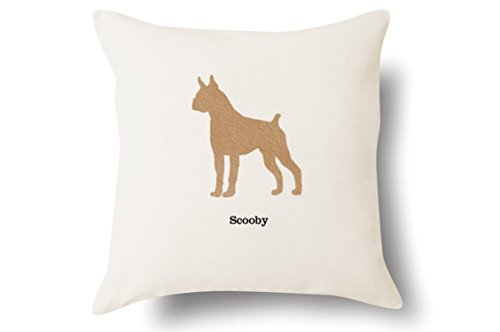 Personalized Boxer Pillow - Silhouette Felt Appliqué - 100% Off-White Cotton - 4 Color Choices - Blue Green Pink Tan - 18x18