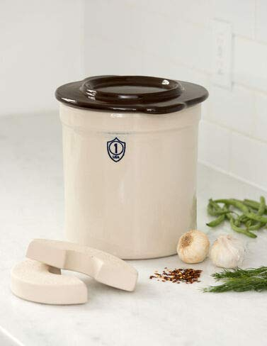 1-Gallon Stoneware Pickling Crock Complete Kit