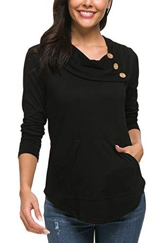 Zattcas Womens Tunic Sweatshirts Thin Cowl Neck Tops Long Sleeve Tunic for Women (X-Large, Black)