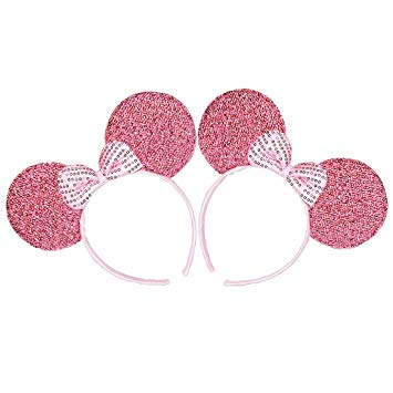 Mickey/Minnie Mouse Style Ears Headband for Boys, Girls, Children, Adults, Parties, Disneyland, Music Festivals, Headwear, Halloween, More (Sparkling Pink with Pink -