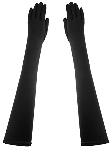 Opera Length Formal 23-Inch Stretchy Shinny Satin Dress Gloves -
