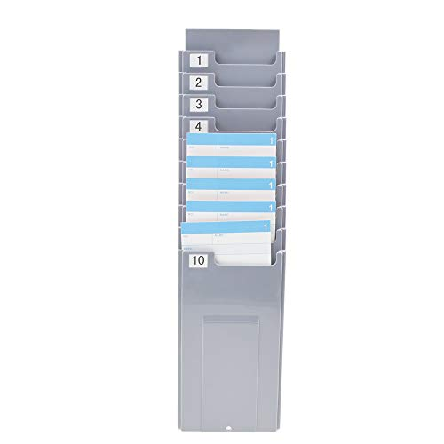 NADAMOO Time Cards Rack Retractable Time Card Holder with 10-Pocket,Plastic Wall Mounted Cards Holder Compatible with Time Card Machine Attendance Recorder Punch Clock for Office, Gray