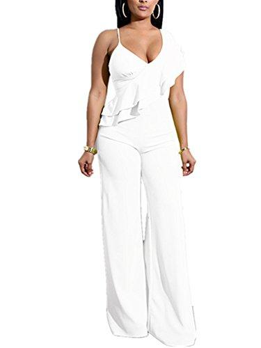 White One Piece Jumpsuit - Xuan2Xuan3 Women V Neck Ruffles Jumpsuit Sleeveless Sexy Wide Leg Long Pant One Piece Jumpsuit Romper (Large, White)