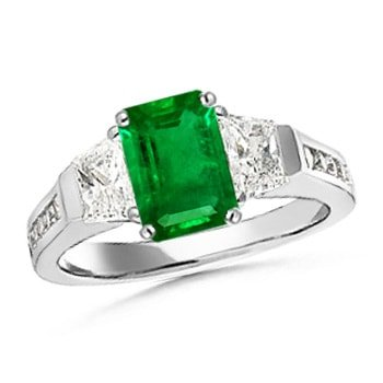 Angara Classic Three Stone Emerald Diamond Engagement Ring in Platinum rqaQi5Xt