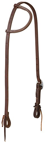(Weaver Leather Working Tack Sliding Ear Stainless Steel Single Buckle Headstall, Oiled Canyon Rose)