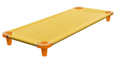 (Acrimet Premium Stackable Nap Cot (Stainless Steel Tubes) (Yellow Cot - Orange Feet) (1 Unit))