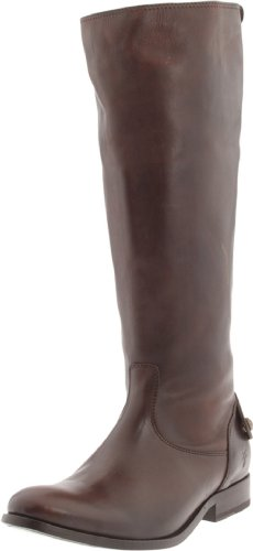 FRYE Women's Melissa Button Back-Zip Boot, Dark Brown Smooth Vintage Leather, 7.5 M US by FRYE