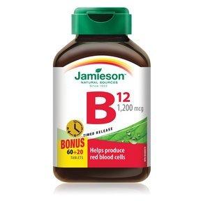 Jamieson B12 1,200 mcg Time Release, 80 tabs Bonus