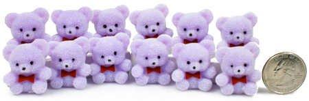 1″ Mini Flocked Purple Baby Teddy Bears – Pkg of 24, Health Care Stuffs