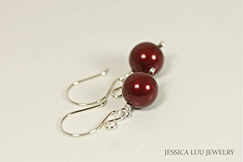 - Sterling Silver Dark Red Pearl Dangle Earrings with Bordeaux Swarovski Pearls Gold Filled Option