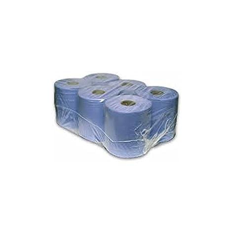 Thali Outlet® - 6 unidades azul centro alimentación rollos mano toallas de papel de 2 capas 100 m rollo de contrato: Amazon.es: Hogar
