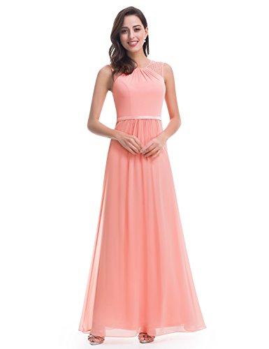 Ever-Pretty Womens Sleeveless Round Neckline Wedding Guest Dress 8 US Peach