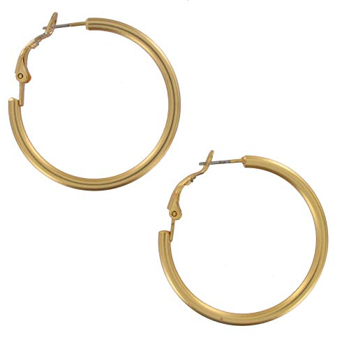 Pierced Earrings Matte Gold Tone Plain Hoop 1 3/8
