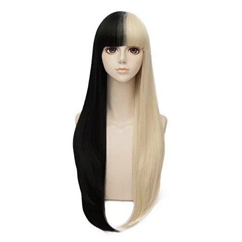 38/70/75/80cm Long Black Mixed Light Blonde Straight/Wavy Girls Cosplay Wigs+Cap (Unisex 80's Wig)