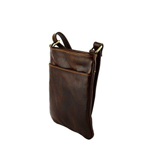 Echtes Leder Umhängetasche Farbe Dunkelbraun - Italienische Lederwaren - Herrentasche