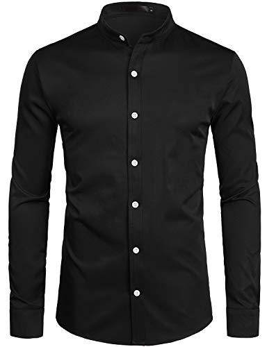 ZEROYAA Mens Hipster Solid Slim Fit Long Sleeve Mandarin Collar Dress Shirts ZLCL08 Black Medium