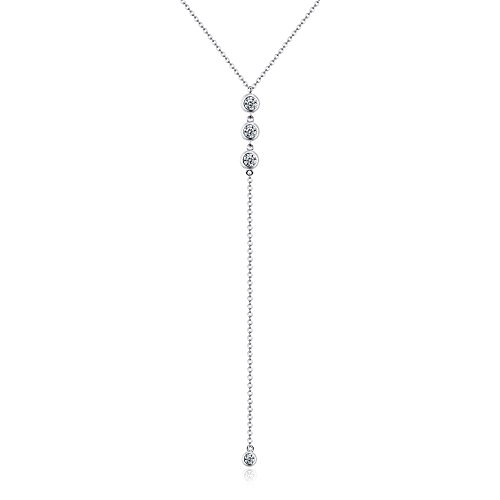 Golden Ribbon 925 Sterling Silver Women Y Shape Minimalist Dangling Pendant Necklace Jewelry Gift (White Gold) Drop Pendant Necklace