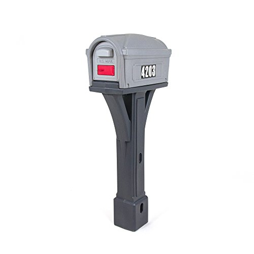 Simplay3 Classic Plastic Post Mount Mailbox - Light Gray/Dark Gray